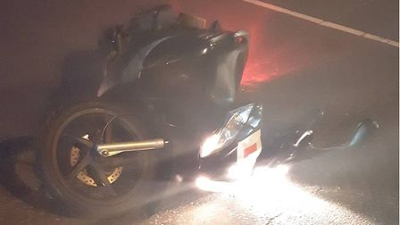 Moped left in road after crashing with a car in Chatteris