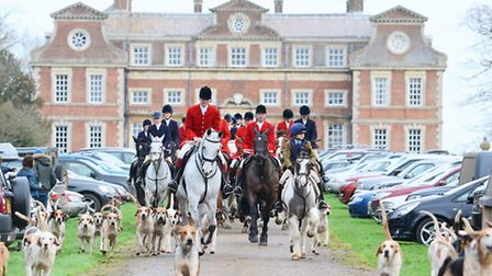 The West Norfolk Foxhounds Boxing Day hunt at Raynham Hall led by master of the hunt Charles Carter.