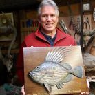 Roger Brookes, fish carver extraordinaire with his John Dory