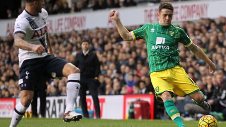 Norwich City midfielder Robbie Brady tested Tottenham early on at White Hart Lane. Picture by Paul C