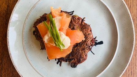 Charlotte's beet and smoked salmon brunch stack