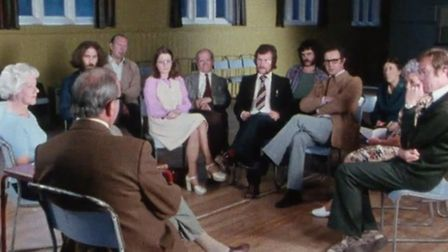 """A reconstruction of a public meeting from the """"Not So Much a Facelift..."""" film. Picture: BFI"""