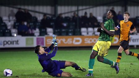 Benny Ashley-Seal scores his second goal for Norwich City U18s in a 3-1 win away at Hull City in the