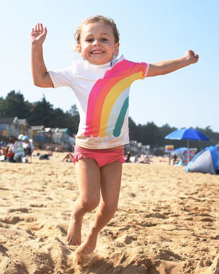 Three-year-old Skylar Bland enjoying the beach in the hot weather at Wells-next-the-Sea. Picture: DE