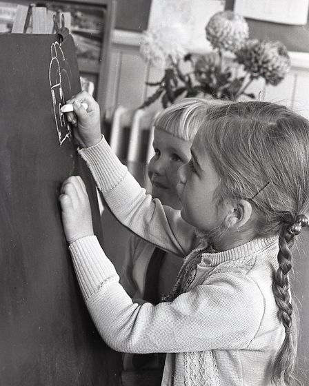 Children during their first day at Diss Infant School, 12 September 1969. Picture: Archant Library