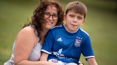 Aiden Thomas with his mum Vicky. Picture: Sarah Lucy Brown