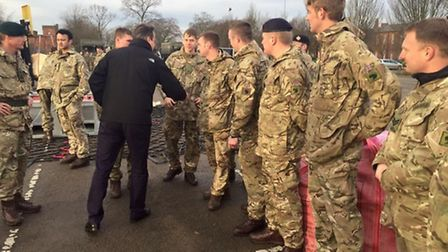 Light Dragoons are thanked by Prime Minister David Cameron for their help in flood affected areas in