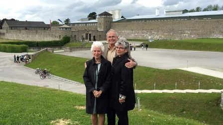 (Left to right) Eva, Mark, and Hana atMauthausen concentration camp