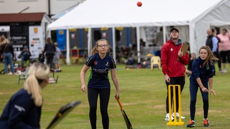 Cricket at the Women and Girls Soft Ball Festival at Dunmow Cricket Club, Essex