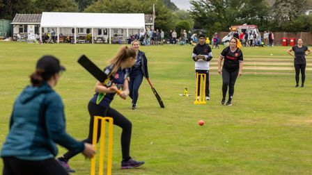 A scene from theWomen and Girls Soft Ball Festival at Dunmow Cricket Club