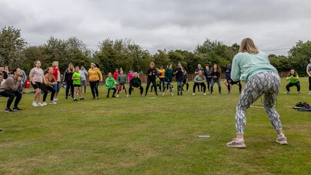 A workout at Dunmow Cricket Club, part of the Women's Soft Ball Cricket and Prosecco Festival