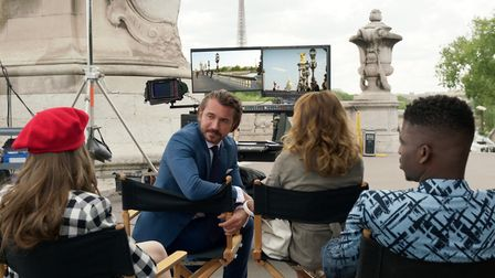 Filming the perfume advert on the Pont Alexandre III. Pic: Courtesy of Netflix