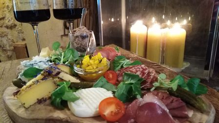 One of the generous platters served with wine