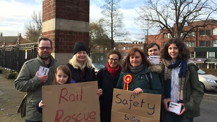 Labour Party campaigners protest at Norwich Railway Station against the latest rise in rail fares.