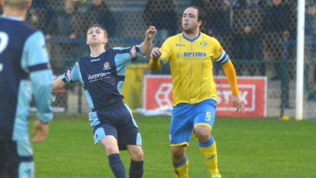 King's Lynn skipper Sam Gaughran in action during Saturday's 1-0 win at St Neots. Picture: Helen Dra