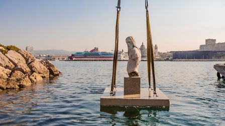 Sculptures being positioned at the Musee Subaquatique de Marseille. Pic: Wallis/MSM