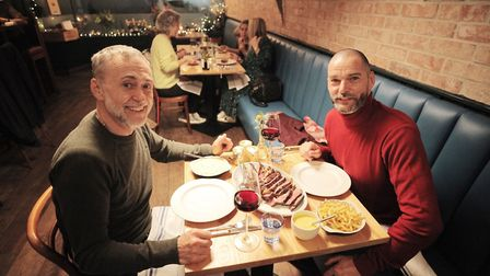 Michel Roux Jr and Fred Sirieix enjoy dining out at Little French (c) BBC/Outline Productions