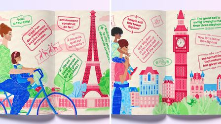 The book features colourful illustrations and words in both languages