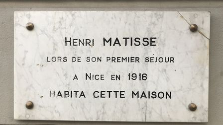 The plaque on the wall of the Hotel Beau Rivage, Nice. Pic: Lara Dunn