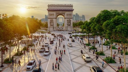 The Arc de Triomphe surrounded by trees. Pic: PCA-STREAM