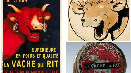 The red cow was inspired by a cartoon cow called Wachkyrie, and the cheese was originally sold in a