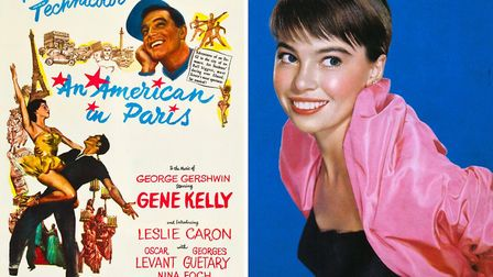 The poster for An American in Paris in 1951 and Leslie Caron in 1953 © Wikimedia Commons
