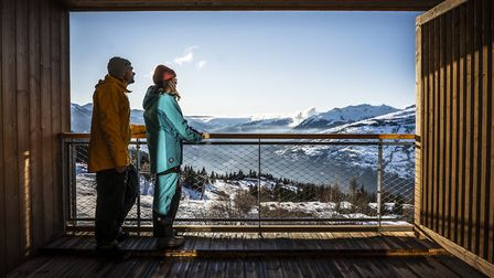 Modern-day skiers enjoy the view
