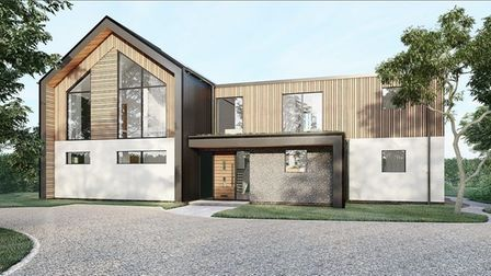 CGI image of modern timber framed home with gravel driveway and vaulted front