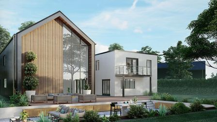 CGI graphic of contemporary new build property with balcony and lowered outdoor seating area