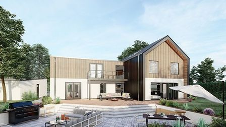 CGI impression of contemporary new build home to be built in East Carleton, Norfolk