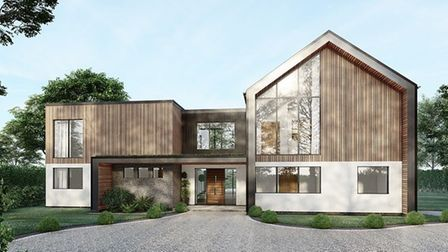 CGI impression of contemporary new home with timber cladding to be built in East Carleton, Norfolk