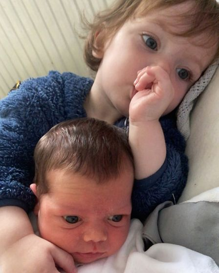 Piper Summersgill (bottom) and her brother Karson Summersgill (top) who is 15 months old