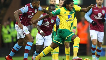 Norwich City's on-loan striker Dieumerci Mbokani went close in the first half of the Canaries' Premi