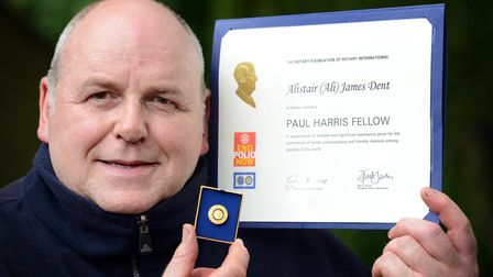 Ali Dent with his Paul Harris Fellow award presented to him by Downham Market Rotary Club. Picture: