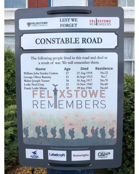 A poignant sign in Constable road put up by the Felixstowe Remembers project