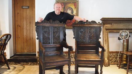 Philip and Claire Crosthwaite will bring a rare pair of 17th century oak Wainscot chairsto the new venue of Easton College.