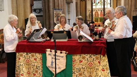 The Harvest festival was soundtracked by St Withburga handbell ringers.