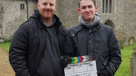 Filmmaker Matt Long with director Danny Cotton on the set of Soldiers of Embers. Submitted