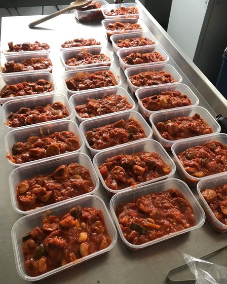 Meals for Medics being portioned up for essential and emergency workers