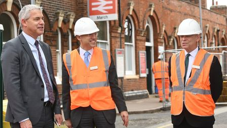 Steve Barclay speaks to staff at March railway station as it continues upgrade work