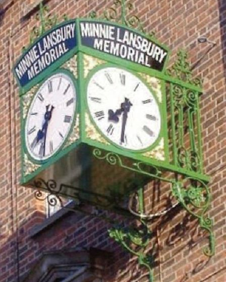 Memorial clock in Bow Road to Minnie Lansbury