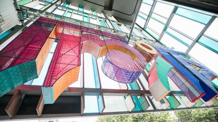 Giant Bangla artwork at the Idea Store library