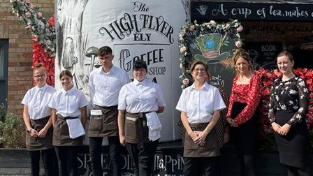The team outside The High Flyer in Ely