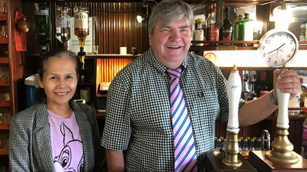 Peter and Wasana Allan of The Plough pub in Little Downham