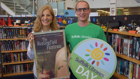 Bruce Leeke with author Pamela Holmes on Suffolk Libraries Day