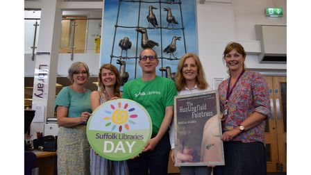 Bruce Leeke with author Pamela Holmes and library staff on Suffolk Libraries Day