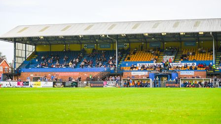Fans in the main stand at The Walks for Lynn's game against Dagenham