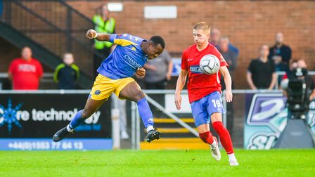 Second half substitute Munashe Sundire gets his head to the ball.