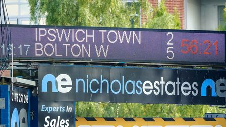 The depressing scoreboard moments after Bolton Wanderers had scored their fifth goal.