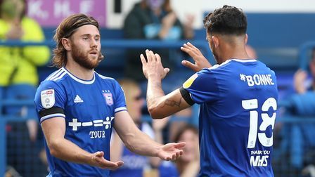 Ipswich Town's McCauley Bonne (right) celebrates scoring his side's second goal of the game with Wes